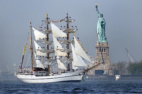 ship, tall, sailing, new york, harbor, statue of liberty, navy