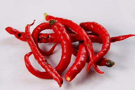 chili pildid, kuum, köögiviljad, pipar, chili, punane, toidu