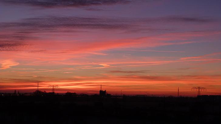 небо, красный, приятное воспоминание, Закат, Вечер, Сумерки, вечернее небо