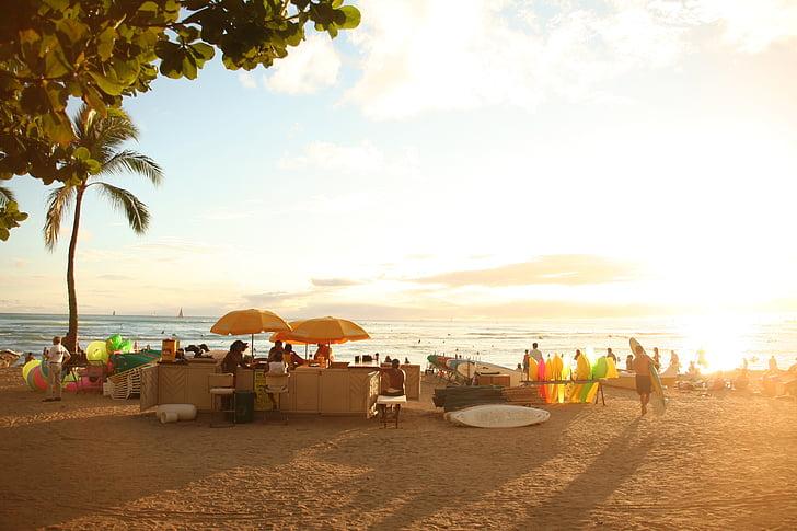 Mar, platja, posta de sol, Hawaii, Waikiki, persones, l'estiu