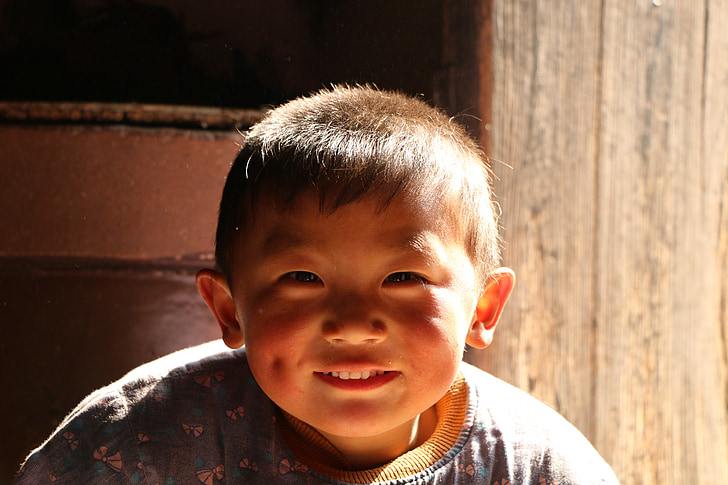 child, chinese village, happy, sunshine