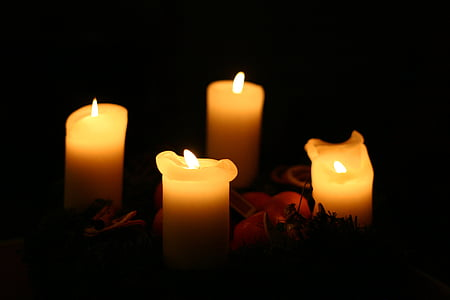 candlelight, candles, christmas, light, wax candles, yellow, flame