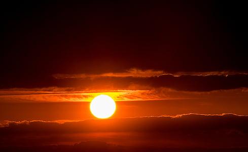 sun, sunset, setting sun, abendstimmung, evening sky, afterglow, clouds