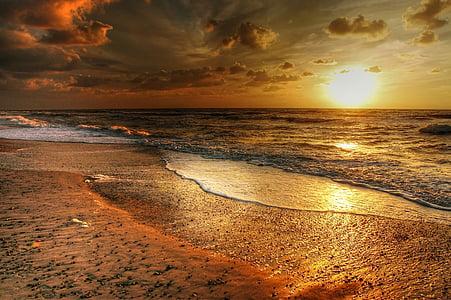 Danska, val, Beach, morje, vode, obala, Severno morje
