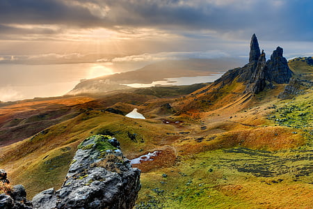 landscape, scotland, isle of skye, old man of storr, morning, sunrise, nature