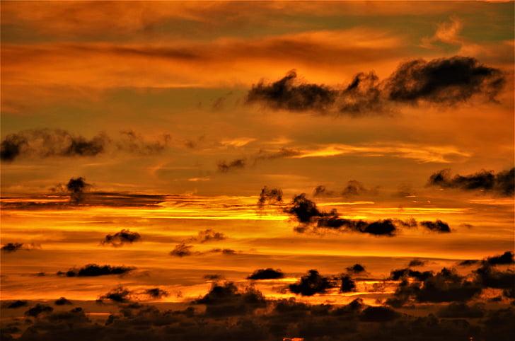 nuvens, pôr do sol, céu da noite, arrebol
