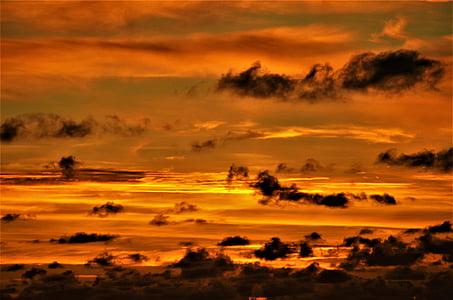 oblaky, západ slnka, večernej oblohe, dosvit