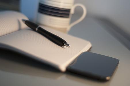 офис, работа, домашен офис, мобилен телефон, организация, кафе, чаша за кафе