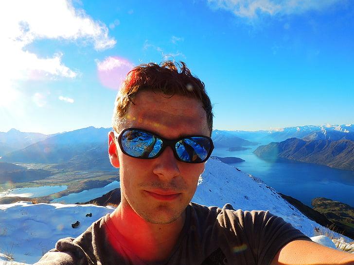 new zealand, young, man, hiker, trekker, mountains, sunny