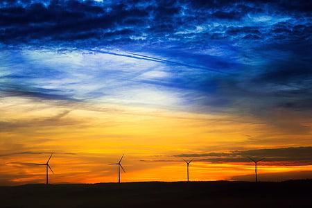Alba, sol, windräder, núvols, bosc, morgenrot, cels