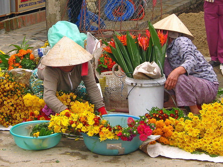 market, women, flower, vietnam, traditional, street, colorful