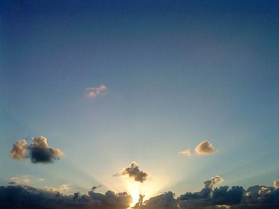 slnko, slnečné lúče, Sky, západ slnka, svetlo