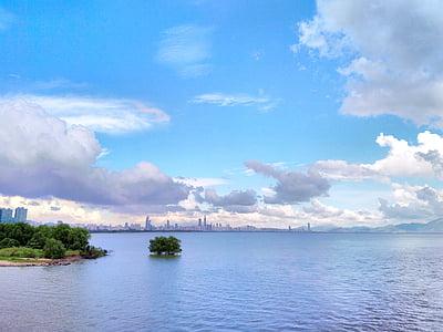 nube blanca, cielo azul, cielo, Costa, vista al mar