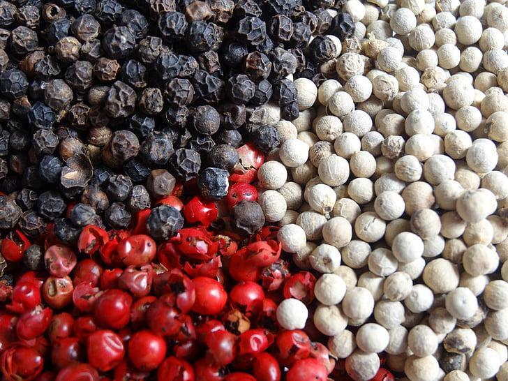 pipari, garšvielas, piparu, sarkans, melns, pārtika