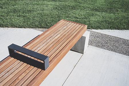 dřevěný, Lavička, venkovní, zelená, tráva, trávník, dřevo - materiál