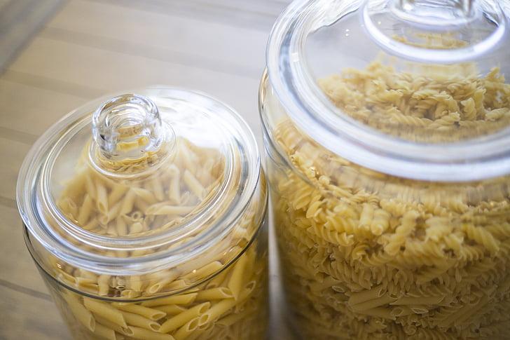 pot de vidre, pastes, cuina, aliments, cuina, contenidors