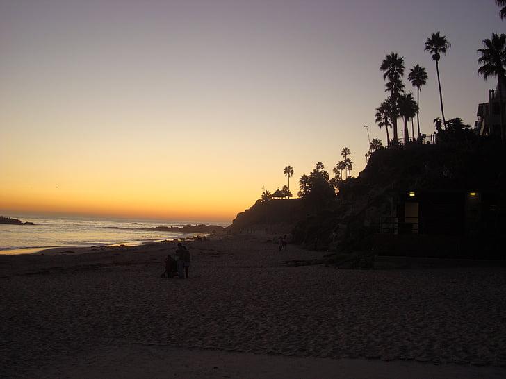Laguna beach, Califòrnia, posta de sol, Costa, oceà, costa rocosa, natura