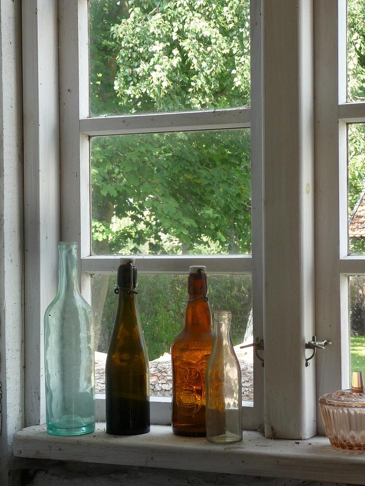 finestra, ampolles, vidre, bodegons, ampit de finestra, blanc, mobles