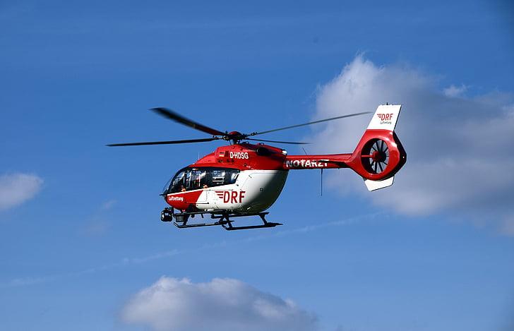 helicòpter, rescat d'aire, helicòpter de rescat, helicòpter d'ambulància, vermell, vermell blanc, volar