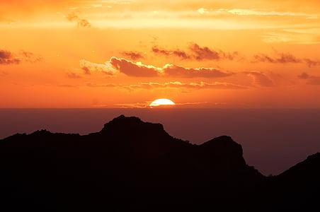 oblaki, gorskih, obris, nebo, sonce, sončni vzhod, sončni zahod