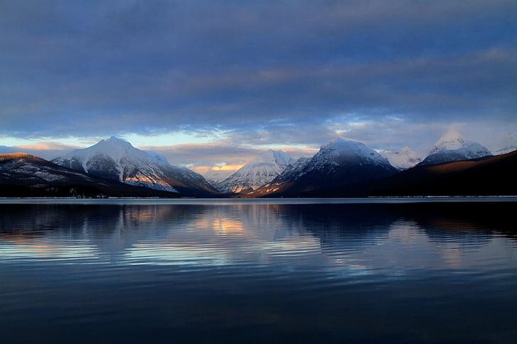 Llac mcdonald, paisatge, posta de sol, crepuscle, capvespre, nit, muntanyes