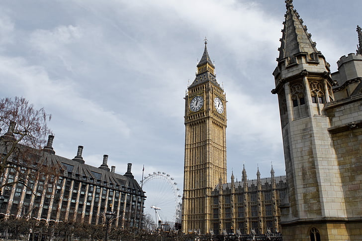 London Eye-maailmanpyörä, Big ben, Iso, Ben, Englanti, Lontoo, Tower
