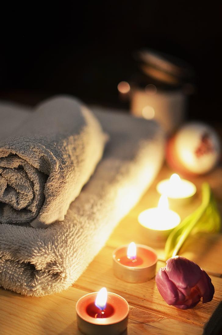 tealight, mum, yanında, gri, battaniye, aşk, Gül