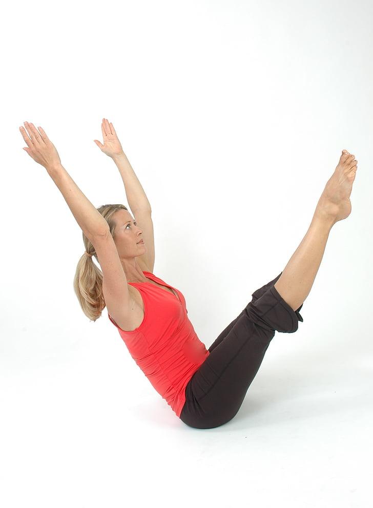 sieviete, Pilates, joga, meitene, stiept, rada, muskuļu