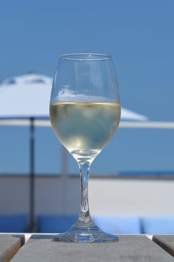 veini, klaas, Holiday, sinine taevas, rannas