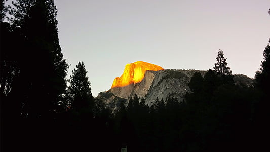 yosemite, mountain, sunset, forest, national park, california, evening