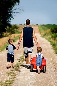 family, dad, father, children, son, daughter, walk