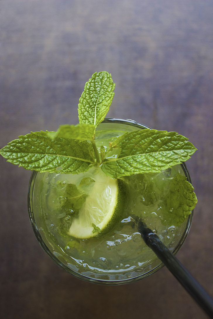 mojito, cocktail, drink, mint, lime, alcohol, glass
