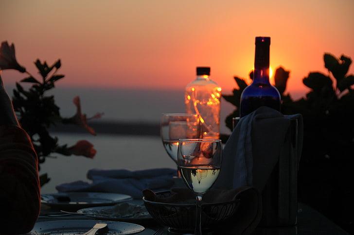 vi, Romanç, nit, àpat, menjador, Santorini