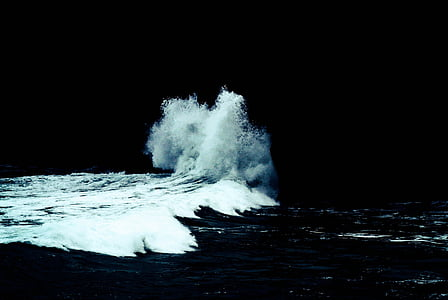 nature, water, crashing, waves, ocean, blue, sea