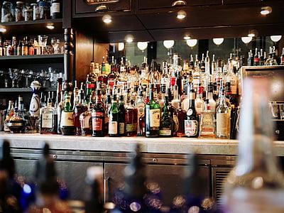 shallow, focus, photography, liquors, bottle, alcoholic, beverage
