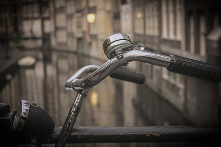 bell, bicycle, bike, close-up, handlebars, old, vintage