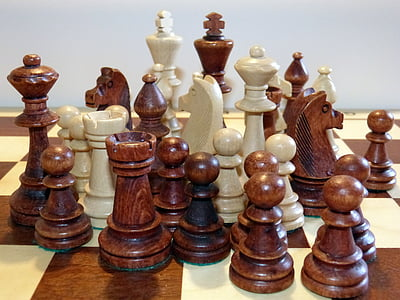 chess, chess pieces, chess game, black and white, play, figures, lady