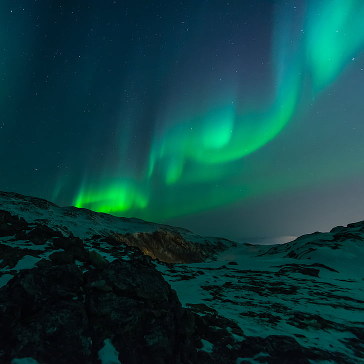 Aurora, aurora borealis, farverige, farverige, bjerge, nat, nordlys