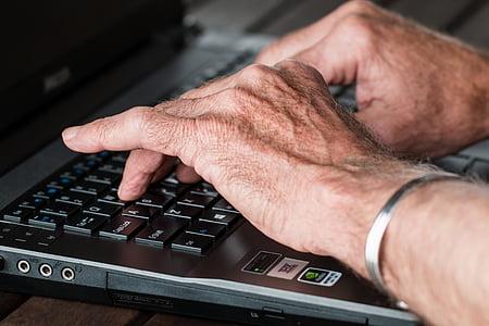 hands, old, typing, laptop, internet, working, writer