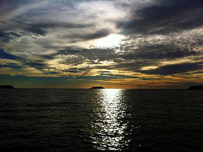 太陽, サンセット, 雲, 空, 残光, 自然, 水