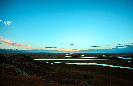 Prairie, jõgi, sinine taevas, loodus, maastik, scenics, Island