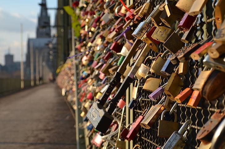 Cologne panorama, Jembatan Hohenzollern, Kastil Cologne, cinta kunci, tempat-tempat menarik, objek wisata, lengkungan