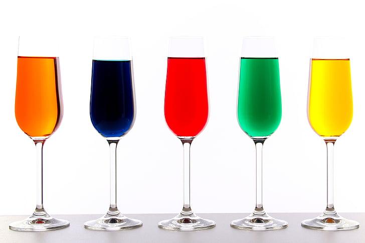 ulleres, color, líquid, colors, bodegons, vidre, beguda
