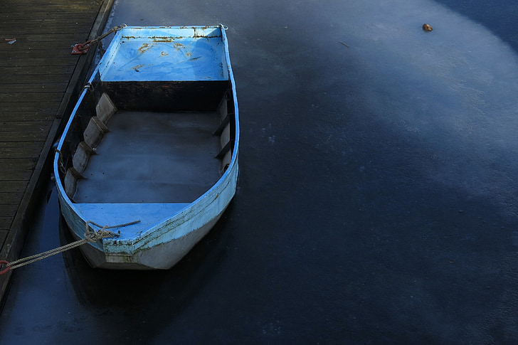 winter, water, boot, blue, cold, silent, icy