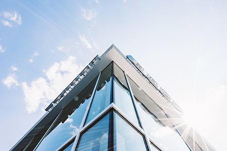 arhitektuur, hoone, klaas, väike nurk shot, perspektiivi, päikese peegeldust, kaasaegne