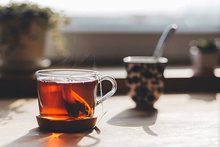 chá, saquinhos de chá, fumaça, manhã, pequeno-almoço, bebida, Copa
