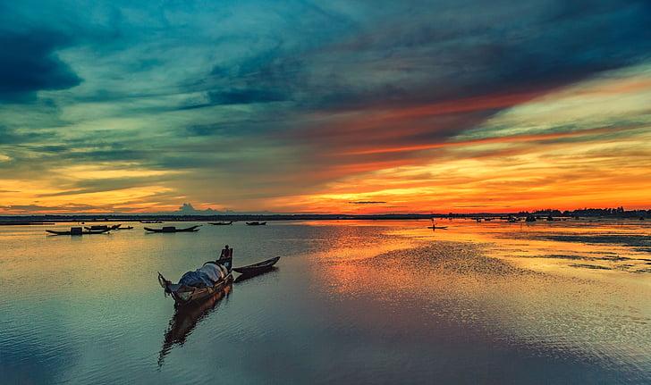 Ben bac, matiz, Vietname, pôr do sol, natureza, céu, reflexão