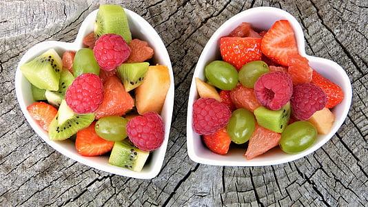 frutas, frutas, salada de frutas, Frisch, bio, saudável, coração