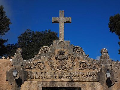 kloster cura, Cross, ingång, Cura, Algaida, Courtyard, Hof