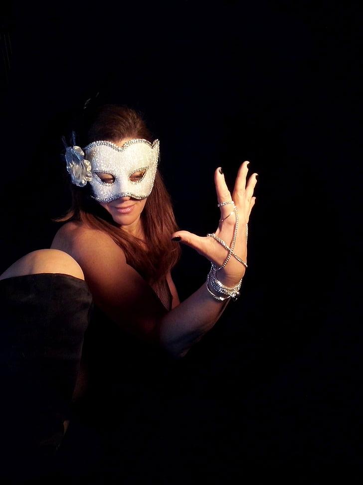 jeune fille, femme, sexy, maquette, érotique, masque, mystère